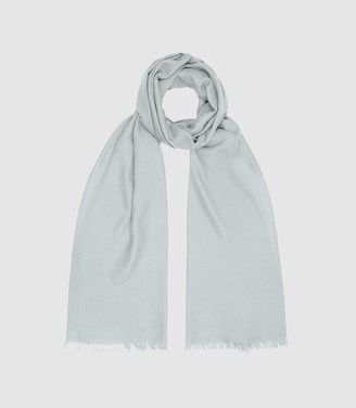 Reiss Iris - Wool Silk Blend Lightweight Scarf in Pale Blue