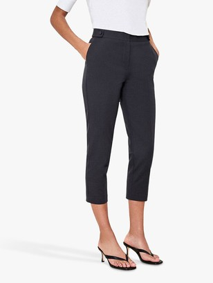 Oasis Capri Cropped Trousers, Navy
