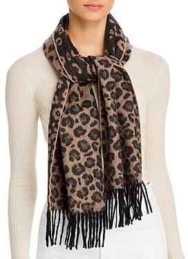 C by Bloomingdale's Leopard Cashmere Scarf - 100% Exclusive