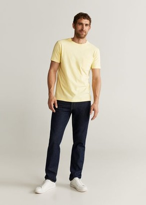 MANGO MAN - Pocket flecked t-shirt pastel yellow - S - Men