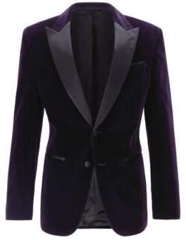 BOSS Slim-fit dinner jacket in velvet with silk trims