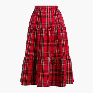 J.Crew Petite three-tier tartan midi skirt