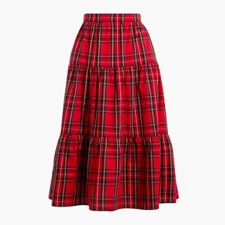 J.Crew Three-tier tartan midi skirt