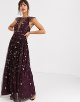 Asos Design DESIGN pretty embroidered floral and sequin mesh maxi dress
