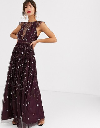 Asos DESIGN pretty embroidered floral and sequin mesh maxi dress