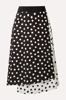 Alice + Olivia Alice Olivia - Nanette Wrap-effect Polka-dot Silk Crepe De Chine Midi Skirt - Black