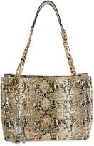 Mario Valentino Valentino By Luisa Embossed-Snakeskin Leather Chain Tote