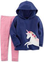 Carter's 2-Pc. Unicorn Hoodie & Striped Leggings Set, Toddler Girls