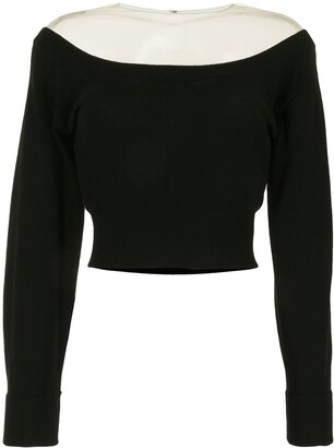 Alexander Wang Off-Shoulder Cropped Knitted Top