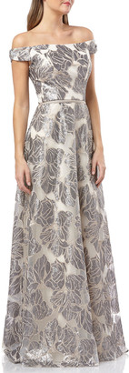 Carmen Marc Valvo Off-the-Shoulder Sequined Organza Ball Gown