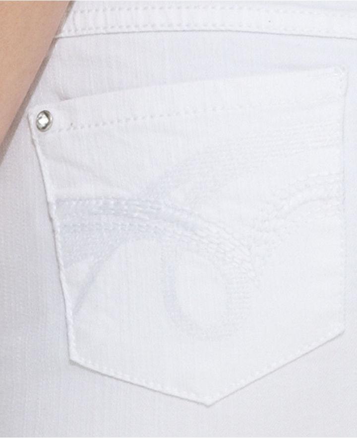 INC International Concepts Skirt, Rhinestone Denim Mini, White Wash