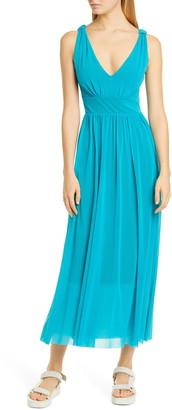 Fuzzi V-Neck Mesh Midi Dress