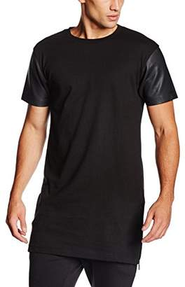 Urban Classic Men's Long Zipped Leather Imitation Sleeve Tee T-Shirt,M