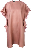 Rochas ruffle sleeve shift dress - women - Silk/Modal - 42