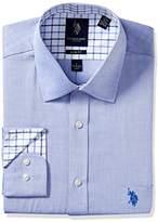 U.S. Polo Assn. Men's Solid Slim Fit Semi Spread Collar Dress Shirt