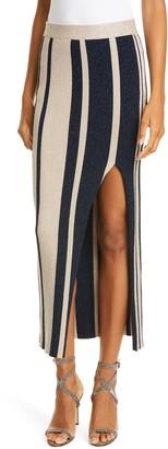 Self-Portrait Metallic Stripe Midi Sweater Skirt