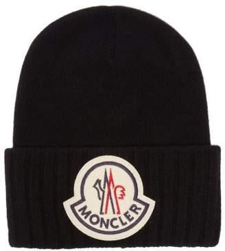 Moncler Logo-applique Wool Beanie Hat - Mens - Black