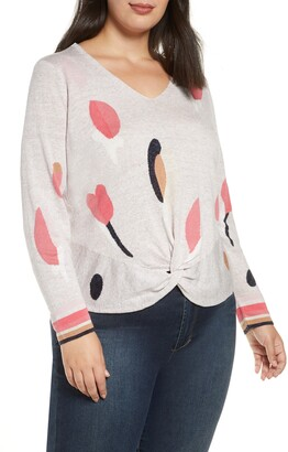Nic+Zoe Rose Garden Twist Linen Blend Sweater