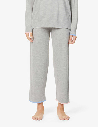 Chinti and Parker Contrast-trim wide-leg mid-rise cashmere jogging bottoms