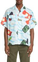 Marni Waste Sea Print Short Sleeve Ramie Button-Up Shirt