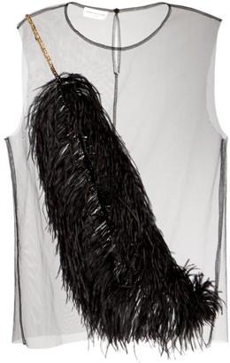 Dries Van Noten Sleeveless Sheer Tulle Feather & Sequin Top