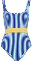 Diane von Furstenberg Belted Striped Swimsuit - Azure