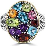 Effy Jewelry Effy 925 Sterling Silver and 18K Gold Accents Multi Gemstone Ring, 3.62 TCW