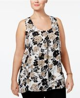 NY Collection Plus Size Pleated Layered Top