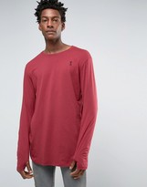 Religion Long Sleeve Longline Top with Thumb Hole Detail