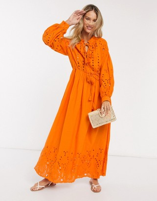 Y.A.S broderie maxi dress with tie neck and waist in orange