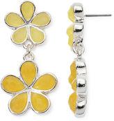Liz Claiborne Yellow Stone Silver-Tone Flower Double-Drop Earrings