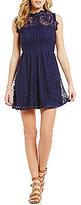 Xtraordinary Scalloped Mock Neck Illusion-Yoke Scalloped Lace Dress