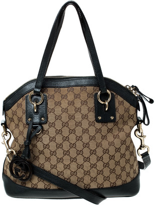 Gucci Beige/Dark Green GG Canvas and Leather Charm Dome Satchel