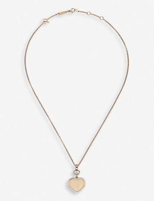 Chopard Golden Hearts 18ct rose-gold and 0.05ct white-diamond pendant necklace