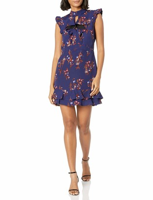 Adelyn Rae Women's Phoebe Woven Printed Ruffle Sheath
