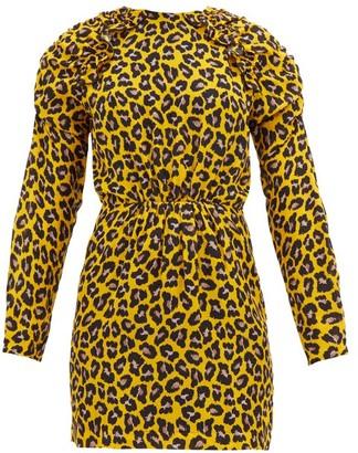 MSGM Ruffled Leopard-print Crepe Mini Dress - Womens - Yellow