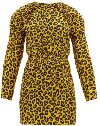 MSGM Ruffled Leopard-print Crepe Mini Dress - Yellow