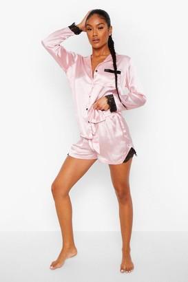 boohoo Mix and Match Lace Trim Satin Shorts