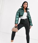 Asos DESIGN Petite glam metallic crop puffer jacket in green