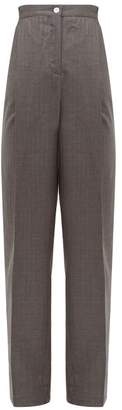 Acne Studios Peggerine Striped Wool-jacquard Tapered Trousers - Womens - Grey