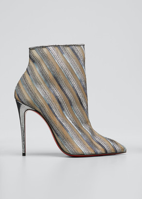 Christian Louboutin Gipsy Striped Lace Zip Red Sole Booties