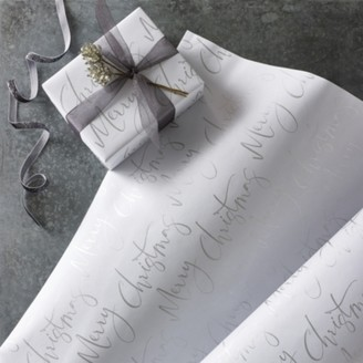 The White Company White Merry Christmas Wrapping Paper 5m, White, One Size