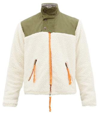 Greg Lauren Sherpa Fleece Zip Up Jacket - Mens - Green White