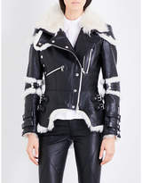 Alexander McQueen Biker-collar leather and shearling jacket