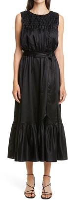 Merlette New York Eldon Smocked Belted Midi Dress