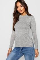 Boohoo Petite Amy High Neck Soft Knit Side Split Tunic grey