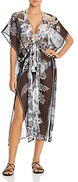 Echo Open-Front Floral Caftan Swim Cover-Up