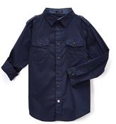 English Laundry Navy Pocket Roll-Sleeve Button-Up - Boys