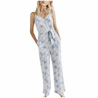 CUTUDU Playsuit Jumpsuits Tie Dyed Print Overall Women Ladies O-Neck Pajamas Romper Short Sleeve Casual Loose Nightwear Sleepwear (D-Gray S)