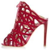 River Island Womens Red suede caged tie-up heels